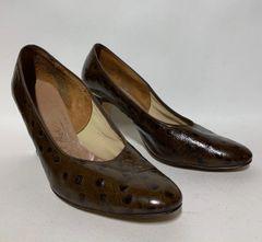 "Miss Holmes Vintage 1970s Court Shoe Brown Faux Ostrich Leather 3.5"" Slim Heel UK 6 EU 38 - vintage size 75C"