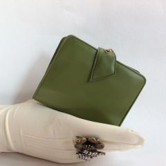 Olive Green Vinyl 1950s Vintage Coin Purse Mini Wallet With Comb, Mirror, Identification Card, Photo Section,