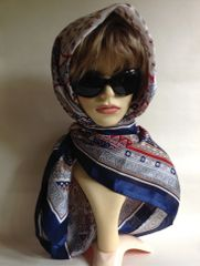 """SEREN Vintage 1980s Polyester 43"""" Large Scarf Shawl Paisley Floral Heavily Patterned Blue Olive Red Gold"""