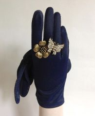 Empire Product Vintage 1950s Navy Nylon Evening Wrist Length Gloves Size 6.5