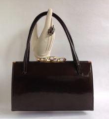 Debroyal 1950s Bronze Patent Leather Vintage Handbag Suede Lining & Elbief Frame