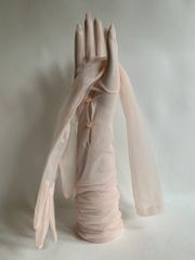 "Vintage 1950s Nude Sheer Nylon Stocking 22"" Gathered 2 Button Opera Evening Gloves Size 6 Approx"