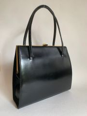 Vintage 1950s Black Soft Leather Handbag With Black Satin Lining & Vanity Mirror Size 9.5 x 8 x 2.5 inches