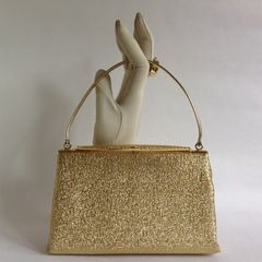 1960s Gold Larmé Fabric Vintage Handbag With Gold Toned Frame Peach Satin Fabric Lining