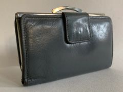 Well Loved Dark Grey Soft Leather Vintage 1960s Coin Purse Wallet With Black Leather Lining