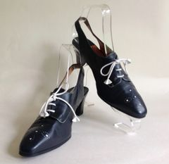 Italo Colombo Blue Leather 1980s Vintage Lace Up Slingback Shoe UK 5 EU 38