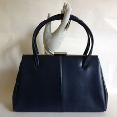 BHS Ladies Large Blue 1960s Vintage Handbag Faux Leather Fabric Lining Kelly Bag