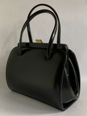 Garfield of London A Good Quality Black Leather 1950s Vintage Handbag With Buff Suede Lining And Covered Frame