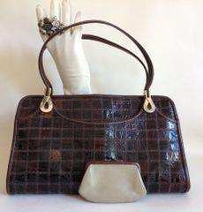 Jane Shilton Brown Turtle Skin 1960s Vintage Handbag Buff Leather Lining & Purse