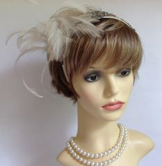 Vintage 1920s Style Champagne Coloured Fascinator Hairband Headband With Diamanté & Feather Detailing Weddings Church Theatre.