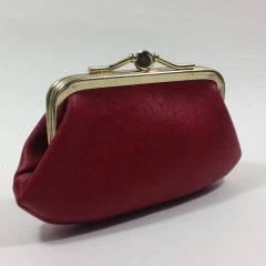 Vintage Cranberry Red 1960s Vinyl Double Sided Coin Purse With Kiss Clasp And Aged Buff Faux Suede Lining