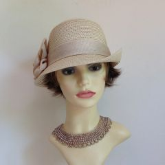 Cloche 1930s Style Cream Hat 100% Paper Ribbon And Rosette Detail Church Casual