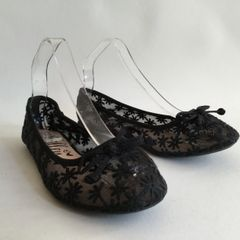 LILLEY Black Daisy Lace Round Toe Bow Front Ballet Flat Court Shoe Size UK 5 EU 38
