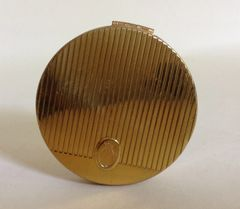 Coty Vintage 1960s Gold Toned Powder Compact Lined Pattern Cut With Puff & Powder.