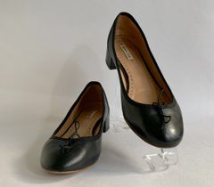 Massimo Dutti Black Leather Round Toe Ballerina Ballet Low Heel Shoes Size UK 4 EU 37