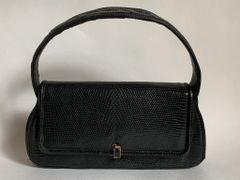Vintage 1940s SmallI Black Tegu Lizard Skin Handbag Black Leather Lining
