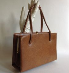 1960s Faux Leather Tan Vintage Granny Handbag Fabric Lining Elbief Frame