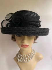 BHS Black Straw Dress Hat Weddings Funeral Church With Ribbon Flower Detail