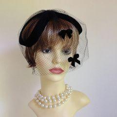 Vintage Black Capulet Hat Fascinator With Velour Net Veil & Bows Weddings Church