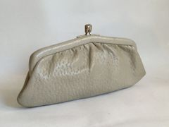 Freedex Styled by Freedex for Boots Vintage 1950s Cream Clutch Bag Purse In Full Grain Leather With Fabric Lining