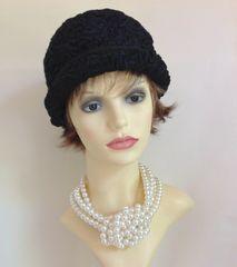 Vintage 1940s Black Astrakhan Calot Hat Fully Lined Thin Petersham Ribbon Detail