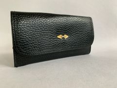Vintage 1960s Large Black Faux Leather Wallet With Attached Matching Coin Purse