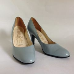 "Cresta Styles By Clarkes of Leicester Baby Blue Vintage 1960s Court Shoe 3.5"" Heel UK 3.5 EU 36.5."