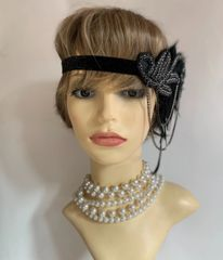Vintage 1920s Flapper Style Black Fascinator Elasticated Hairband Beaded Feather Detailing Vintage Functions Theatre.