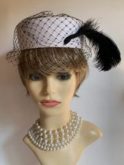 Vintage 1980s Black & White Polyester Pillbox Hat With Net Face Veil And Large Ostrich Plume Detail