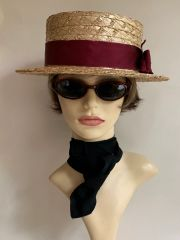 Olney Vintage Mens Straw Boater Hat Burgundy Petersham Ribbon Leather Sweat Band