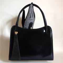 1960s Vintage Black High Shine Leather Handbag Elbief Frame Cream Suede Lining