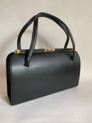 Black Large Faux Leather 1960s Vintage Handbag With Black Fabric Lining