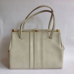MacLaren Large Aged Ivory 1960s Vintage Handbag In Faux Leather With Fabric Lining