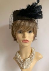 C&A Vintage 1980s Olive Satin Pillbox Hat Black Net Face Veil & Feather Detail Fully Lined