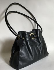 Gigi Soft Black Medium Size Leather Casual Three Section Shoulder Bag Handbag