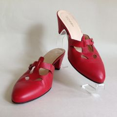 HOBBS Red All Leather Mules 2.5 Inch Conical Heel Almond Toe Size UK 4 EU 37