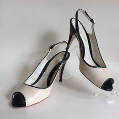 Gianvito Rossi Ivory Leather & Black Patent Slingback Peep Toe Shoe Size UK 7 EU 40