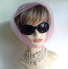 Pink Vintage 1960s Nylon Chiffon Head Scarf Rolled Stitched Hem Races Church Mad Men