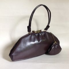 Vintage 1950s Handbag Brown Calf Leather Fabric Lining & Coin Purse Rockabilly