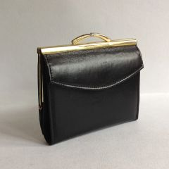 CHURCHILL Black Smooth Leather 1960s Vintage Coin Purse Wallet With Black Leather Lining,