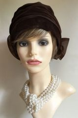 Vintage 1950s Brown Velvet Turban Hat With Large Rear Bow 22 Inches Fully Lined.