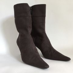 ZARA Brown Suede Pointed Stiletto Calf Length Zip Up Ankle Boots