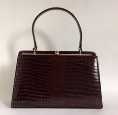 Brown Leather Moc Croc 1950s Vintage Handbag Kelly Bag With Buff Suede Lining