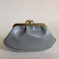 Grey Smooth Leather Unlined 1950s Vintage Double Sided Coin Purse