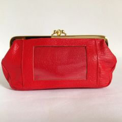 Golunski Red Textured 1980s Leather Buff Faux Suede Lined Vintage Double Sided Coin Purse