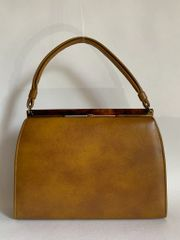 Faux Leather Mustard Tan 1960s Vintage Handbag Brown Fabric Lining Elbief Frame