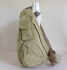 Fantasy Pale Khaki Small Fabric Hold-all Shoulder Bag Messenger Slouch Bag With Multiple Pockets