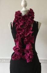 Dark Pink Fuchsia Pierrot Style Spiral Gathered Acrylic Full Length Scarf