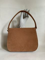 Vintage 1960s Light Brown Suede Handbag With Buff Suede lining.
