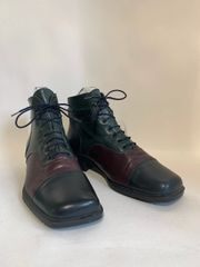 Riva Black Green Burgundy Leather 1990s Lace Up Ankle Boots Booties Size UK 4 EU 37